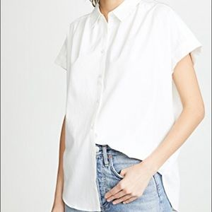 Madewell White Central Drapey Oversized Shirt